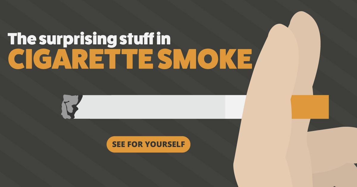 The surprising stuff in cigarette smoke. See for yourself.