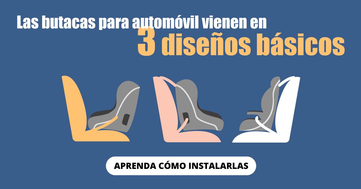 Las butacas para automóvil vienen en 3 diseños básicos.